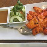 Chicken Satay w/peanut dipping sauce and cucumber salad