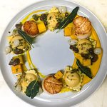 Scallop and squash ravioli
