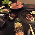 Meats, banchan, sauces