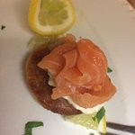 The smoked salmon is cured and smoked by the chef at the Red Lion.