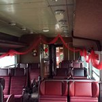 The passenger car and it's decorations.