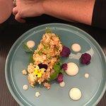 Tartare de crevettes, du barry coco - Chapelure de choux fleurs
