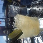 Menus, my margarita and views from my table outside