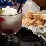 wildberry frozen margarita and tortilla chips