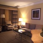 Living room of the suite~ comfortable seating, large window, soft lighting