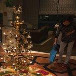 Diwali lights and fresh flowers display