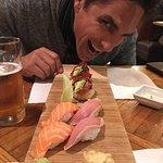 Yellow tail  sashimi with Jalapeño, Spicy Tuna on Crispy rice, salmon and Albacore sushi. All su