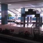 This shows some of the lazy river and pool area on the ground level.