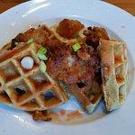 Chicken and waffles was good, but it needed more chicken, and some white meat