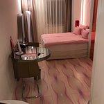 Pink Elevator, Pink Lobby, TV in mirror (not Pink), Pink Towels and bathroom amenities, Pink Duv