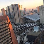 View of Osaka train station and city from 24th floor