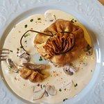 Entrée: Aumônière de Saumon et Sole avec Champignons. Un délice !!!