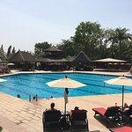 View of the most welcome pool area and view from the 5th floor room overlooking the city of Abuj