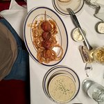 My order skewered scallops on a bed of crispy tasty onions with a bowl of Clam Chowder UMMMM