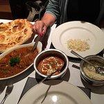Main course, lamb jalfrezi and chicken tikka masala.