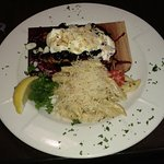 Salmon with Blueberry Compote, Goat Cheese Mousse and Toasted Almonds.  My wife loved it!