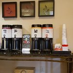 Photo of various coffees and teas offered in the lobby.