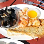 Haddock, shrimp, scallops and mussels
