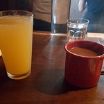 Mimosa and Coffee - served in tin mug