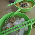 FIshball noodles and Nyonya Laksa are from the same food stall lady.