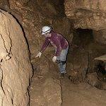 Wild Caving Lost World Caverns - Navigating a ledge