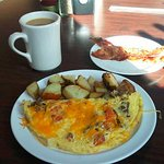 build an omelet, potatoes, bacon, coffee