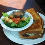 Patty melt, salad, ice tea  (very reasonable: $21 for two meals)