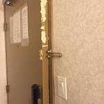 Damage to the door, Abbotsford Hotel 2073 Clearbrook Road, Abbotsford, British Columbia