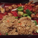 Kong Pow Chicken Bento with fried rice.
