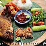 Jimbaran Grilled Fish And Prawn with our homemade sambal