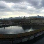 View of Lake Lucerne, Reuss River, Kapellbrücke in Panorama.