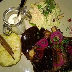 Grilled pork ribs, potato baked in foil, mayo, coleslaw
