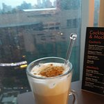 Latte at exec lounge with klCC and KL Tower view