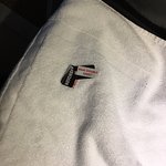 Sticky labels on towels.