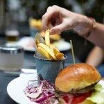 Phene burger with raw slaw