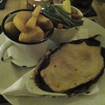 Steak Pie Chips and Veg.
