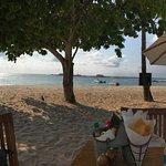 Spotless beach. View from Mary Mita restaurant on the beach.