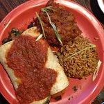 Vegan enchilada, rice, beans