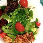 My salad with Turkish fresh figs, walnuts and greens.
