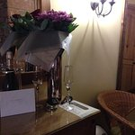 Prosecco, Flowers and Congrats card for us!