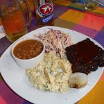 La Oficina Ribs Beans Potato Salad and Coleslaw - deelish