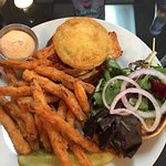 Salmon BLT with fried green tomato and sweet potato fries.