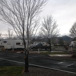 Looking across the RV park towards the western mountains showing signs of snow.
