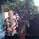Karen with her ficus tree draped in purple twinkle lights, in the kitchen! SO FUN!