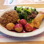 Combo #10 - Chicken Balls, Fried Rice, Meat Egg Roll, Beef and Brocolli
