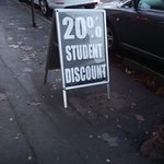 This is the sign clearly displaying a 20% student discount