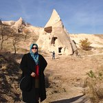 My mom in Uchisar castle