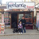 My child and my father in front of Turkey Freelance Travel office in Goreme