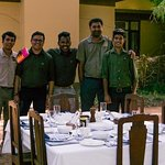 Brunch outdoors, with Deepanker, Ashwin and some of the staff