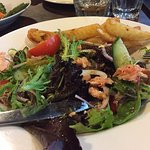 Poached Salmon Salad (chips were stolen from another plate)